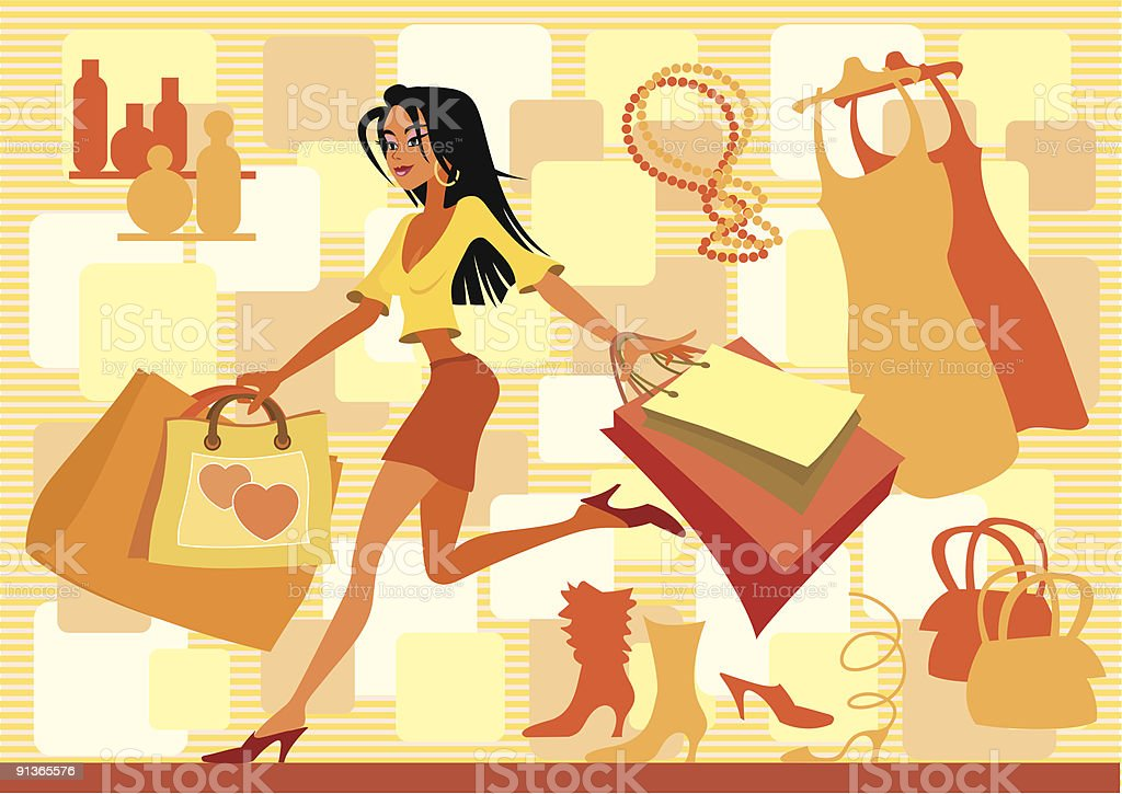 Red shopping vector art illustration