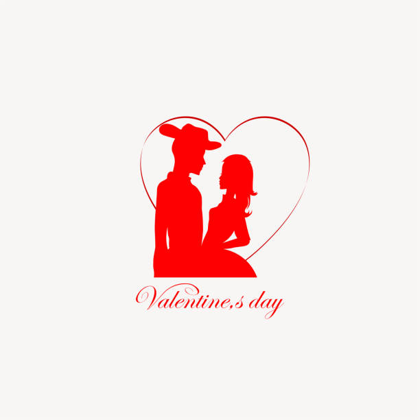 red silhouette of a man in a hat and a girl - leap year stock illustrations, clip art, cartoons, & icons