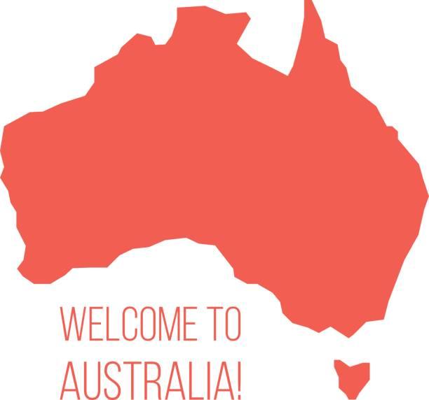 bildbanksillustrationer, clip art samt tecknat material och ikoner med röd silhuetten av australien med inskription välkommen - australia