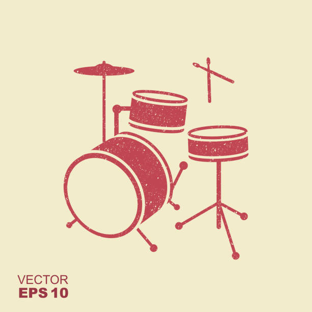 red silhouette of drum in simple style with scuffed effect in a separate layer - talerz perkusyjny stock illustrations