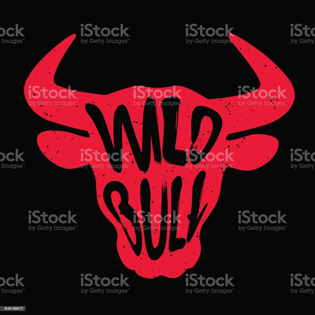 Red silhouette of the animal's head with lettering text Wild Bull. vector art illustration