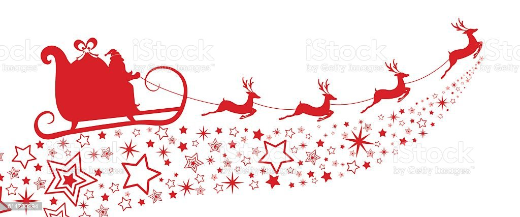 Red Silhouette Santa Claus Flying With Reindeer Sleigh On ...