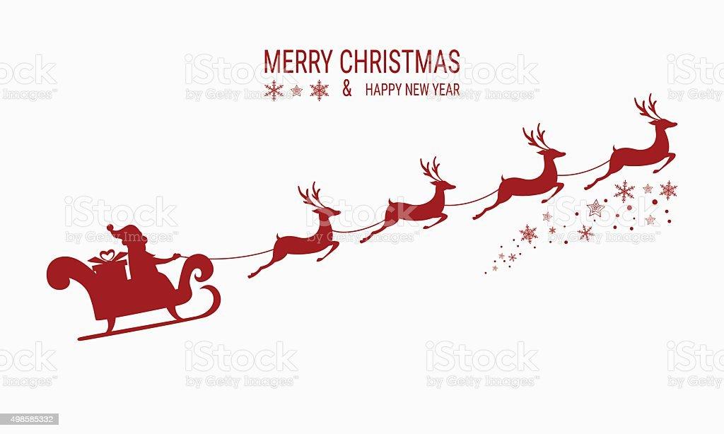 santa claus flying with reindeer sleigh royalty free red silhouette santa - Santa With Reindeer