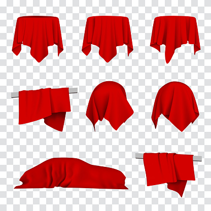 Red Silk Cloth Covered Car, Table and Ball 3d Vector Illustration