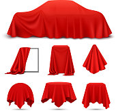 istock red silk cloth covered objects realistic set 1201265336