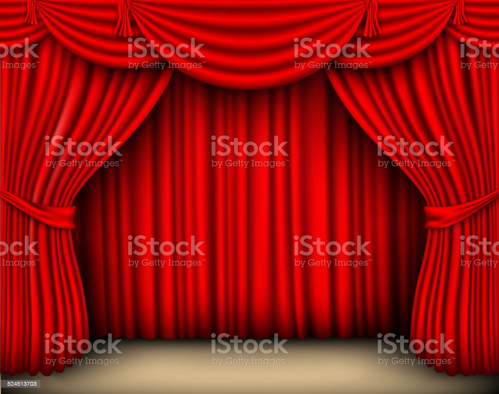 Tende In Velluto Di Seta tenda di seta rossa con ombre e pelmet - immagini vettoriali