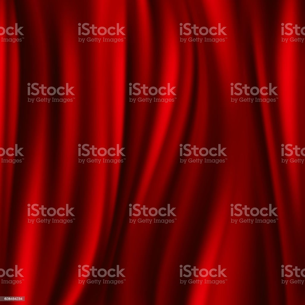 Red silk, satin flowing textile, wavy abstact vector background ベクターアートイラスト