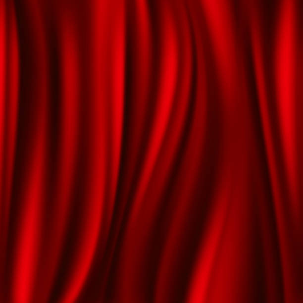 Red silk, satin flowing textile, wavy abstact vector background - Illustration vectorielle