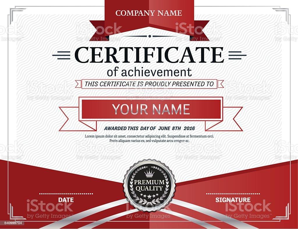 Red Silver Certificate Template Certificate Vector Platinum