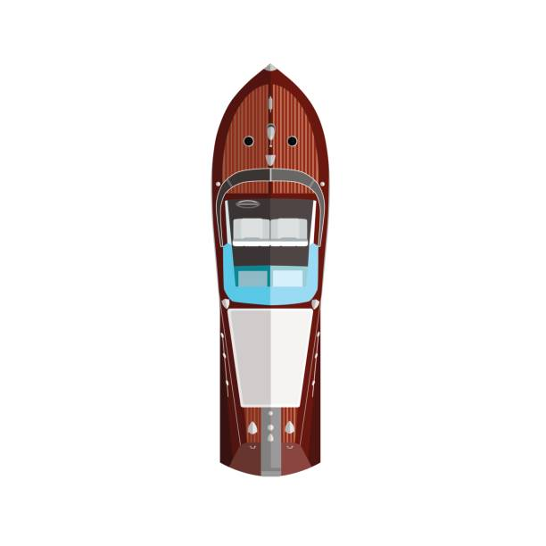 Red silver Motorboat Red silver high speed motorboat top view cruiserweight stock illustrations