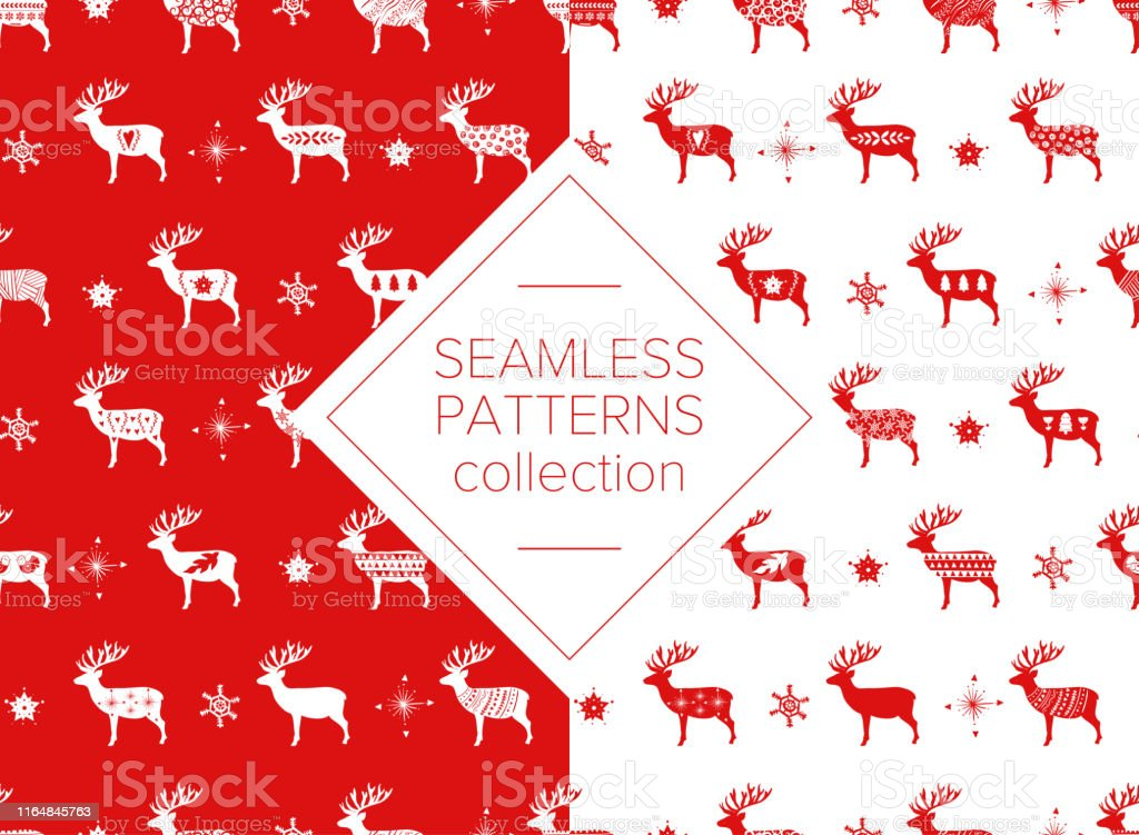 Red simple Christmas deer for holiday celebrations Scandinavian...