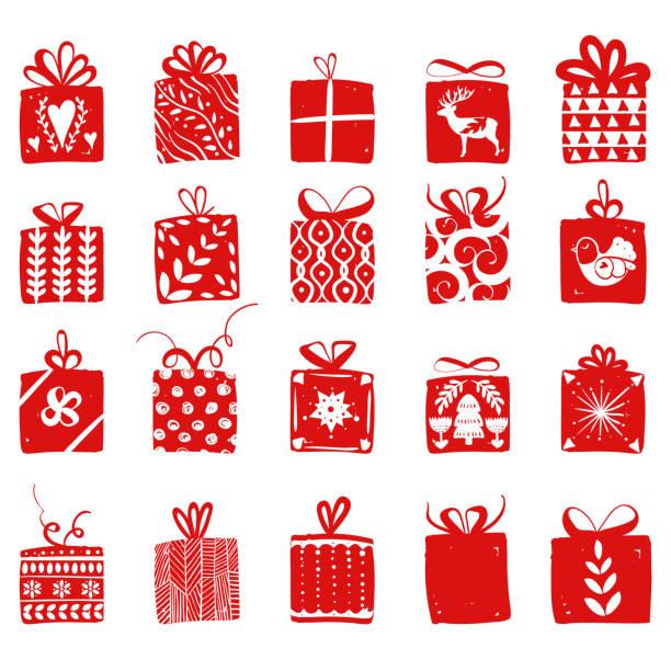 rote einfache geschenkkartons für urlaub feiern skandinavischen nordischen stil. weihnachten, neujahr geschenke. sammlung von boxen mit einfachen dekoration von hand gezeichnet - weihnachtsgeschenk stock-grafiken, -clipart, -cartoons und -symbole