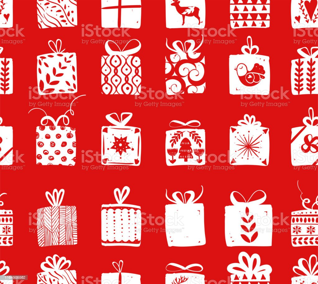 Red simple gift boxes for holiday celebrations Scandinavian Nordic...