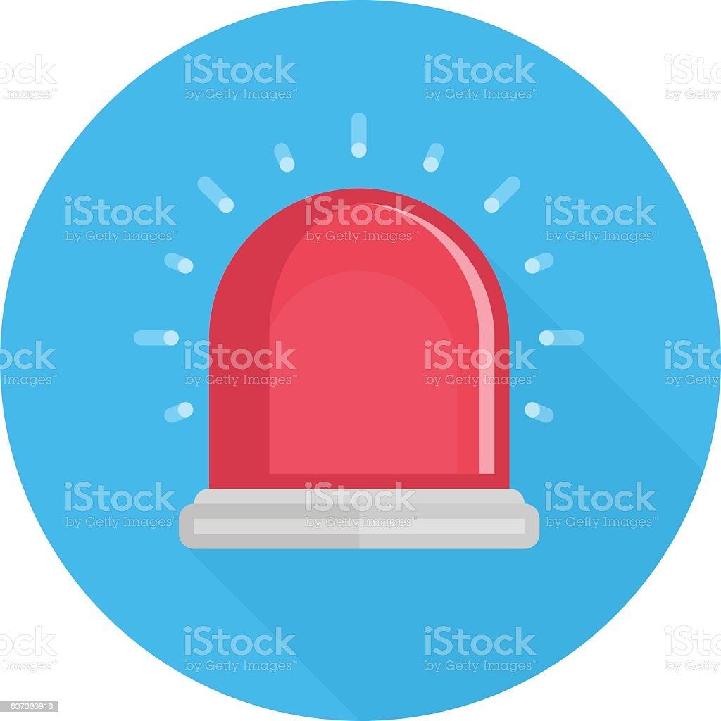 Red siren vector icon. vector art illustration