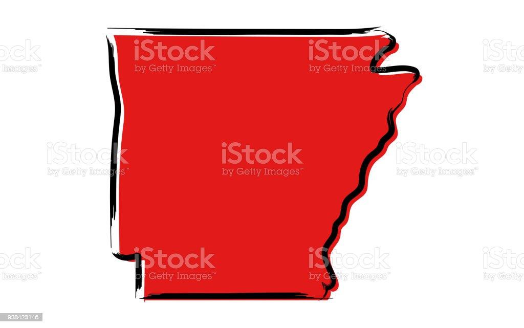 Red sketch map of Arkansas vector art illustration