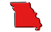 Red sketch map of Missouri