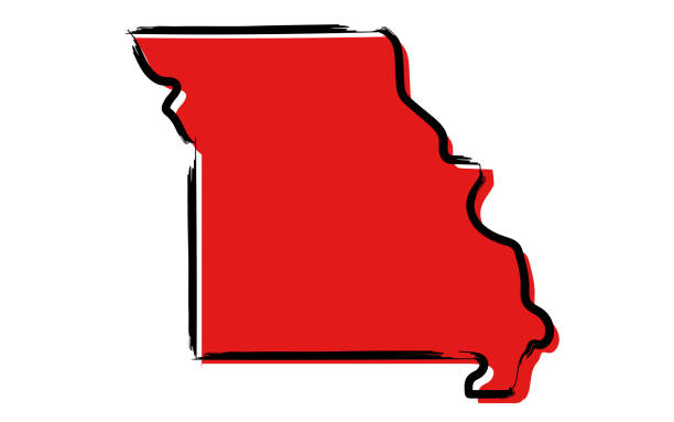 red sketch map of missouri - missouri stock illustrations