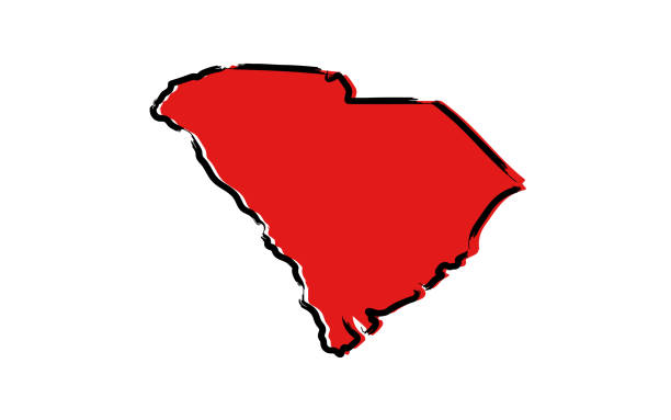 Red sketch map of South Carolina Stylized red sketch map of South Carolina illustration vector south carolina stock illustrations