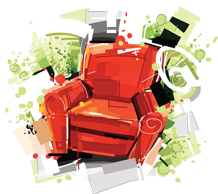 red sketchy armchair