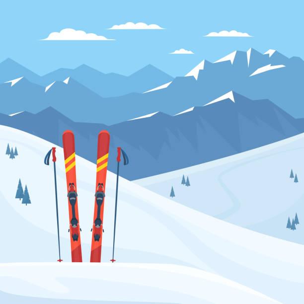 illustrazioni stock, clip art, cartoni animati e icone di tendenza di red ski equipment at the ski resort. - sci