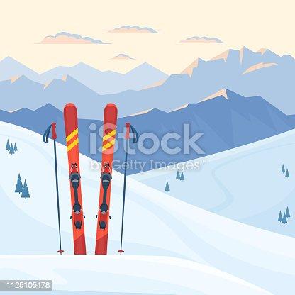 istock Red ski equipment at the ski resort. 1125105478