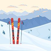 Red ski equipment at the ski resort. Snowy mountains and slopes, winter evening and morning landscape, sunset, sunrise. Vector flat illustration.