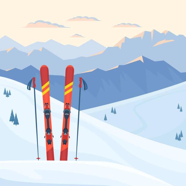 illustrazioni stock, clip art, cartoni animati e icone di tendenza di red ski equipment at the ski resort. - ski