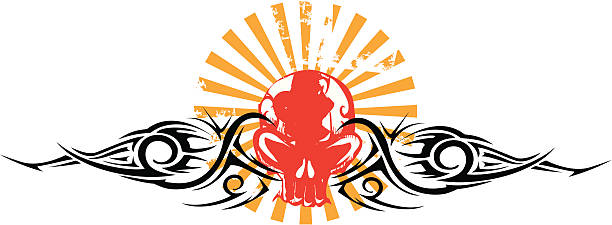 red skull emblem with tribal accents and japan rays vector art illustration