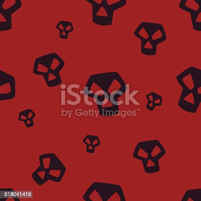 seamless texture with dark skulls on red background
