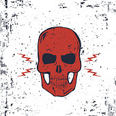 Red Skull with Lightning Bolts and Grunge Texture. Vector
