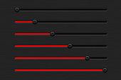 Red slider bar on dark black background. Horizontal orientation