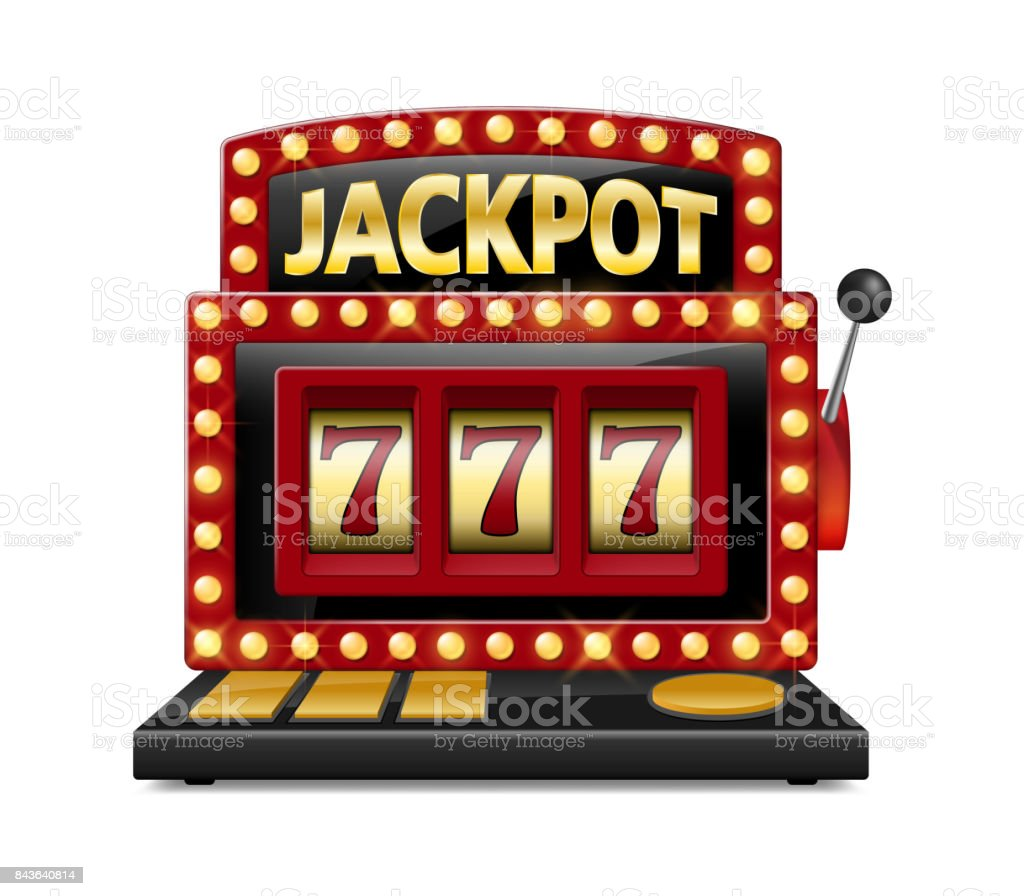 Red slot machine wins the jackpot Isolated on white background. Casino big win slot machine vector illustration vector art illustration