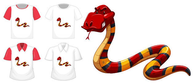 Red snake cartoon character with many types of shirts on white background