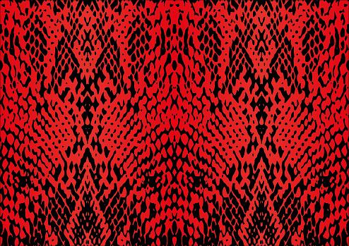 Red Snake Skin Print Design
