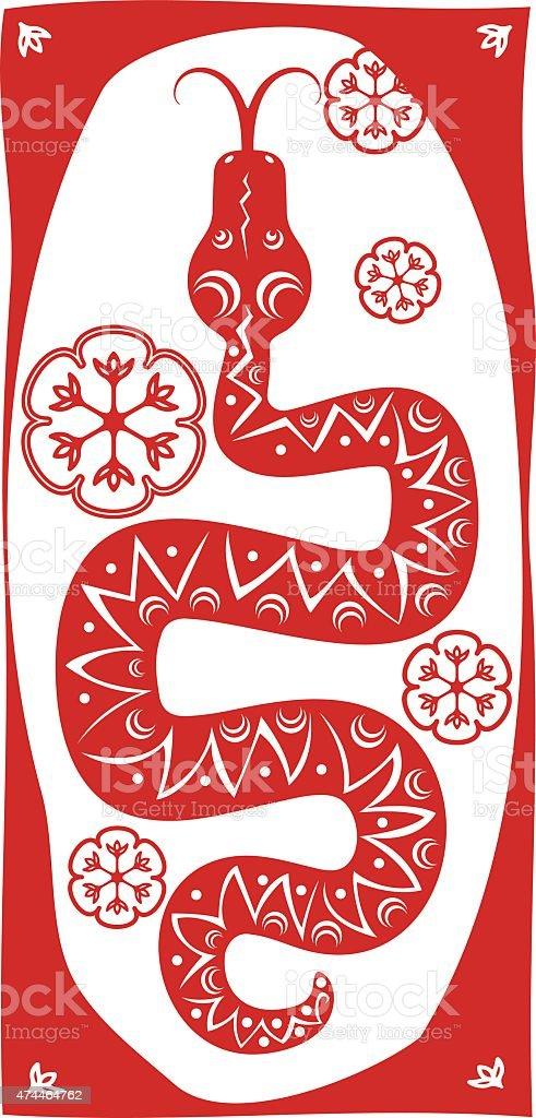 Red snake vector art illustration