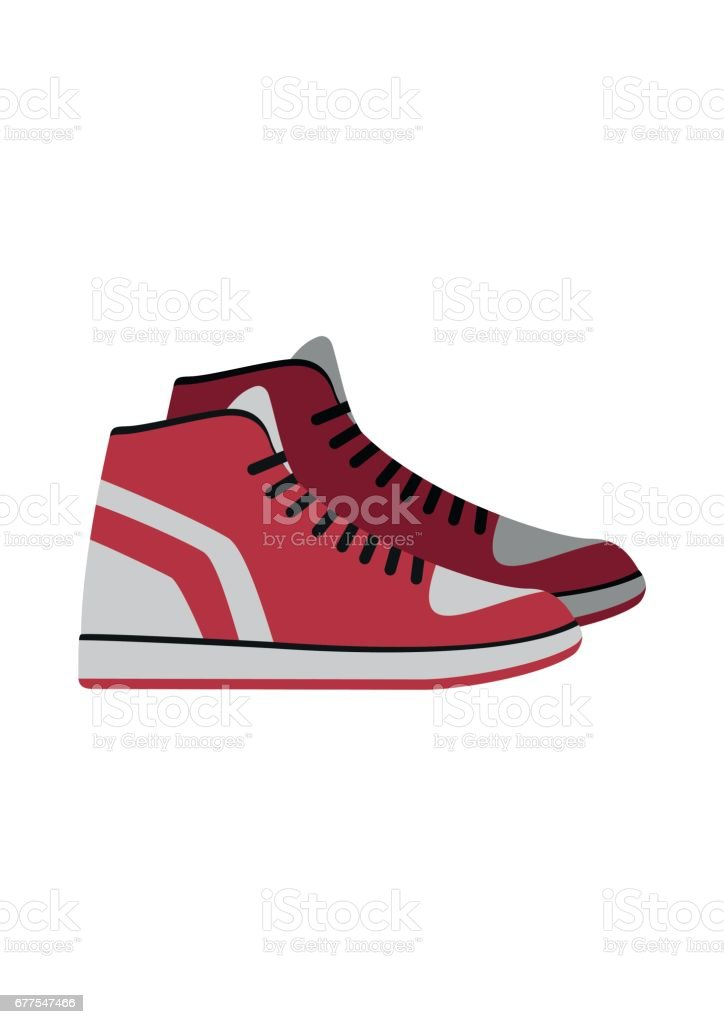 Red Sneakers, sport gym shoes isolated on white background. footwear for sport and casual look vector art illustration