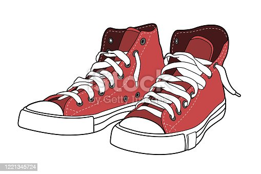 Red sneakers vector illustration. Realistic gym shoes color vector illustration for your business design