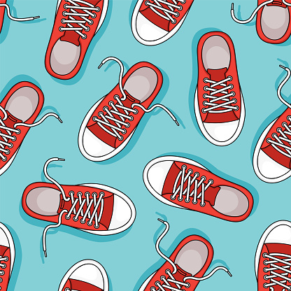 Red sneakers vector seamless pattern. Casual youth shoes on blue background. Sport illustration