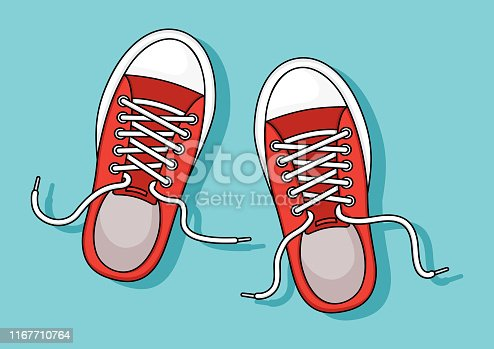 istock Red sneakers with shadow on blue background. Vector 1167710764