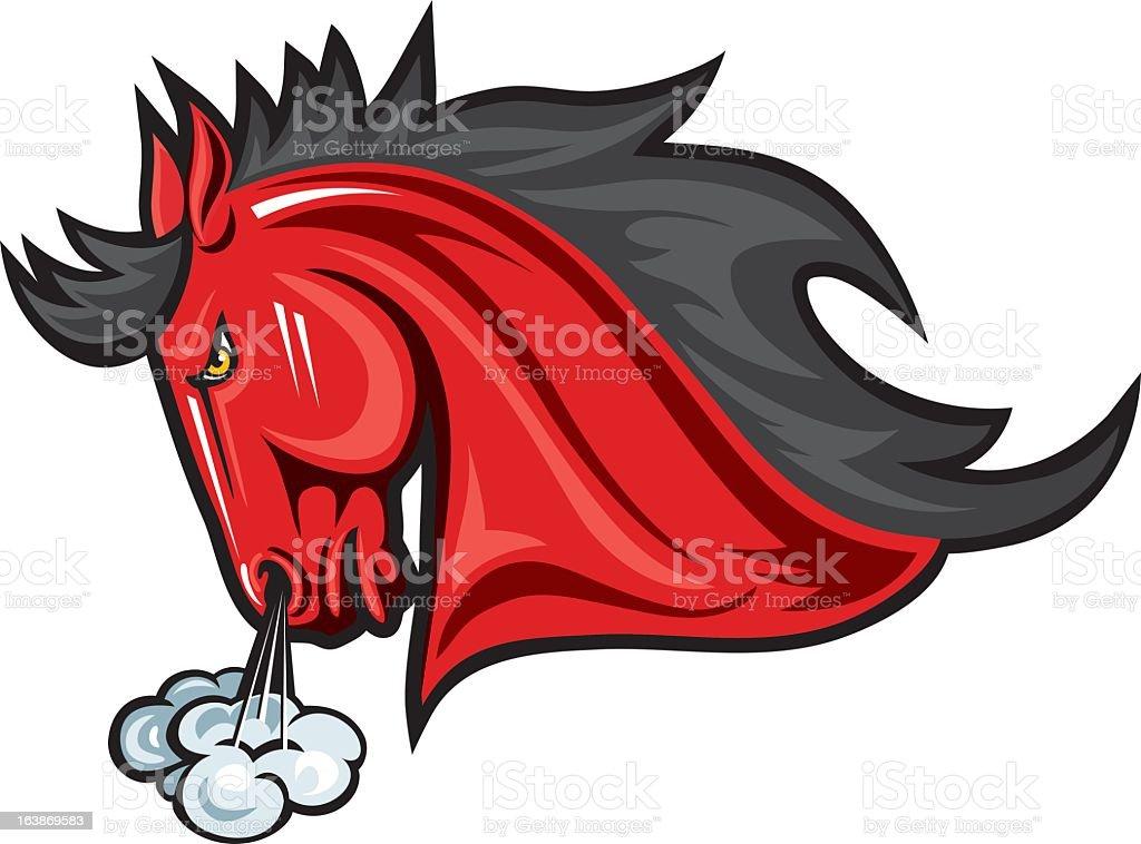 Red Snorting Stallion Mascot vector art illustration