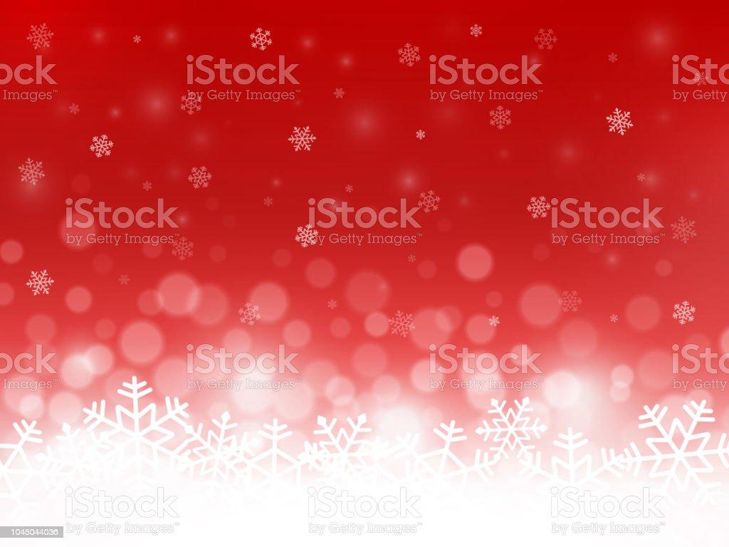 Red Snow Hintergrund. Schneeflocken mit Partikeln und Bokeh. Unscharfen Hintergrund. Weihnachten Hintergrund. Urlaub-Winter-Thema. Vektor-illustration – Vektorgrafik