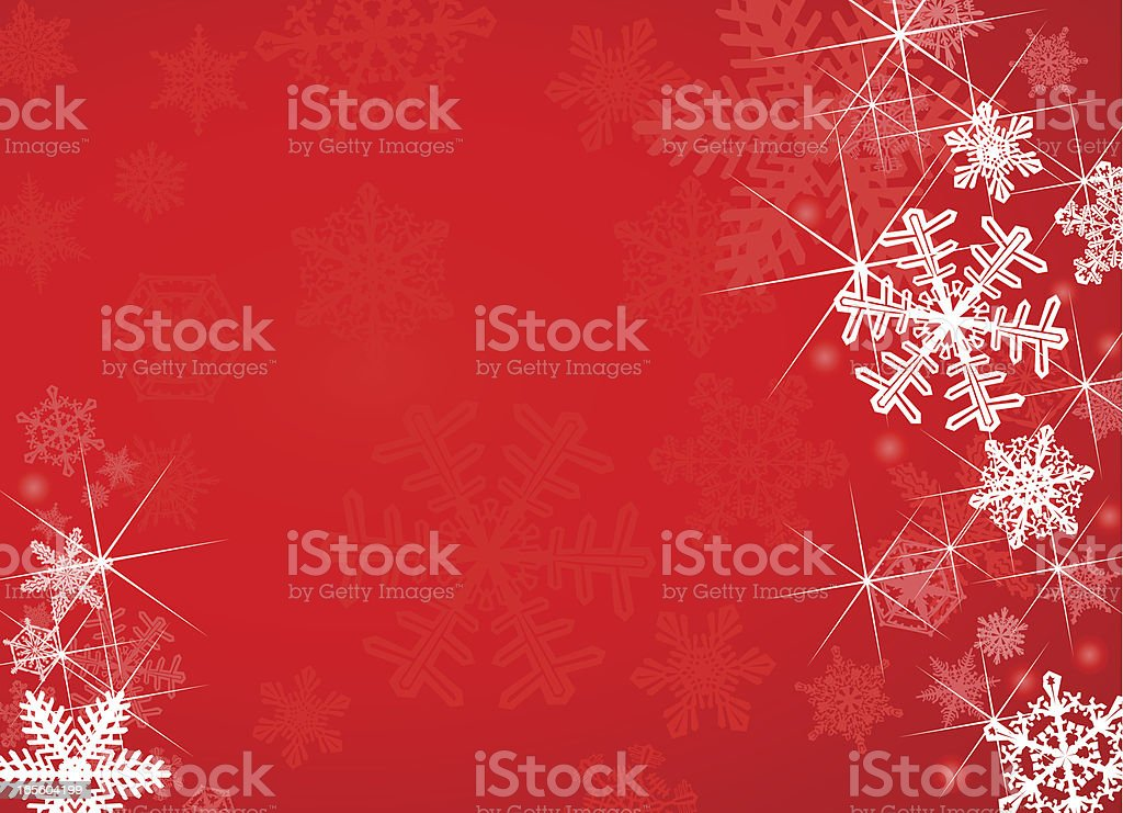 Red Snowflake Background vector art illustration