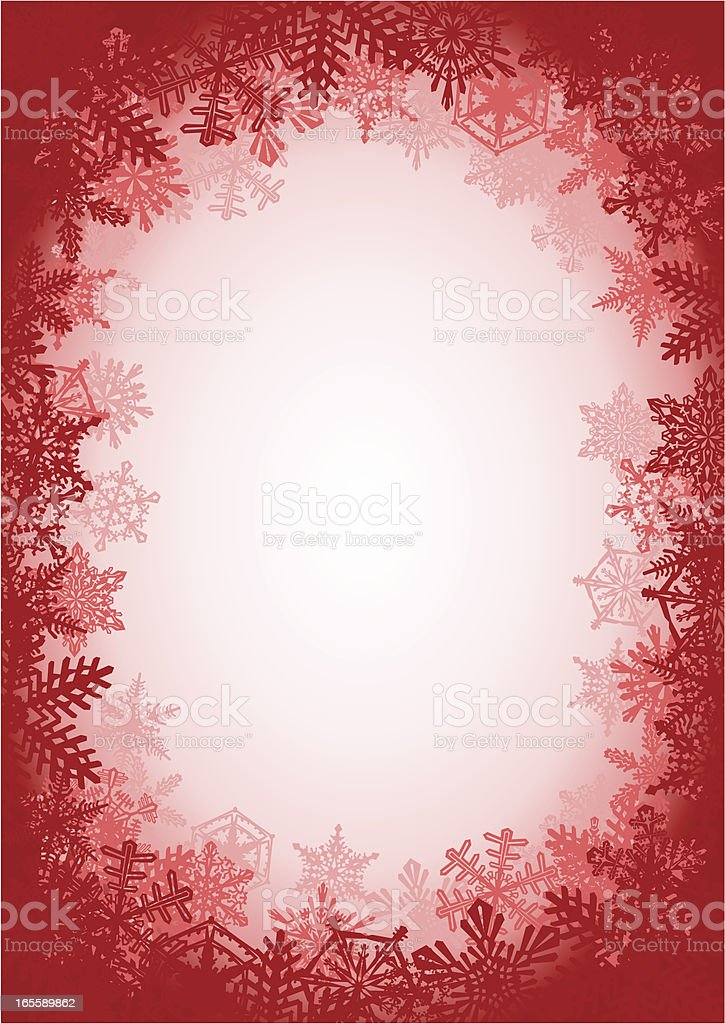 Red Snowflake Frame Background royalty-free stock vector art
