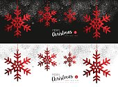 Merry christmas and happy new year red winter snowflake in low poly style, holiday decoration for social media cover or card design. EPS10 vector.