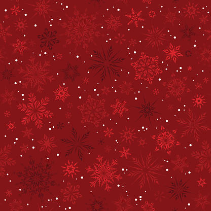 Red Snowflakes Seamless Pattern