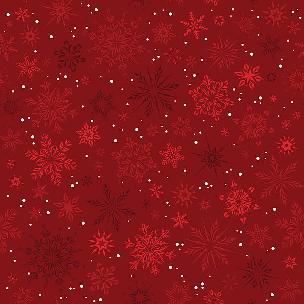 red snowflakes seamless pattern - papier do pakowania stock illustrations