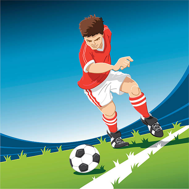 """Red Soccer Player Freekick """"Hand-drawn vector illustration of a red soccer player, who does a free kick. The illustration is on separate layers, so you also can use the soccer player on your own background. The colors in the .eps-file are ready for print (CMYK). Included files: EPS (v8) and Hi-Res JPG."""" soccer stock illustrations"""