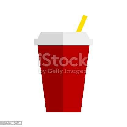 istock Red soda drink with straw. Red soda drink cup in flat style. Cartoon red soda drink cup for paper design. Fast food icon. Vctor icon 1272452408