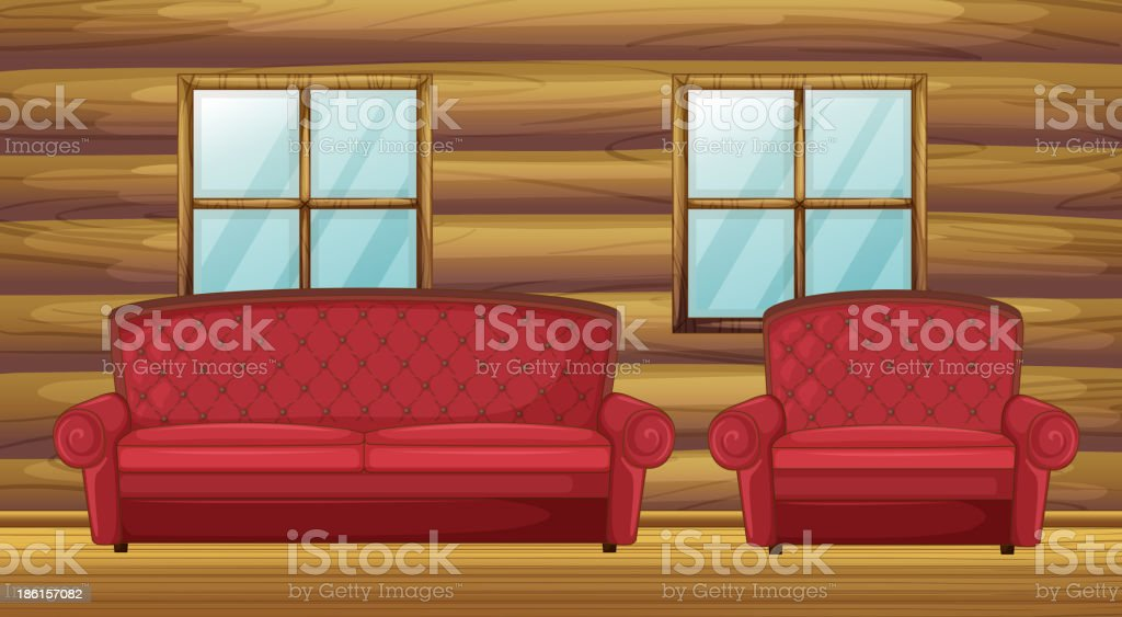 Red sofa and chair in wooden room vector art illustration