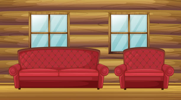 red sofa and chair in wooden room - log cabin stock illustrations, clip art, cartoons, & icons